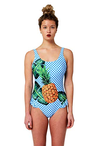Juicy Couture One Piece Swimsuit with Ruffle Leg Opening (Pineapple Print, Medium) (Couture Women Swimwear One Piece)