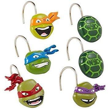Set of 12, Resin with Metal Hooks Mutant Ninja Turtles Shower Curtain Hooks by Teenage Mutant Ninja Turtles