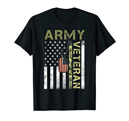 American Flag Camo Proud Us Army Veteran T-Shirt