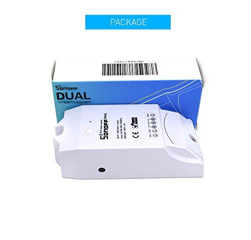 Dual Channels Connection Wireless Module Sonoff Dual Smart WiFi Switch Sonoff Dual for Home Intelligent Automation Remote Power Consumption Measurement Via APP Control