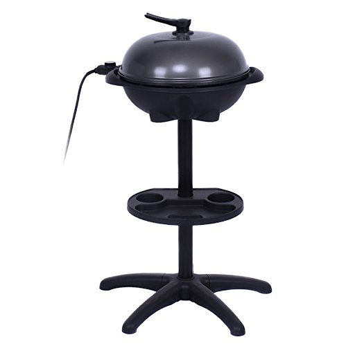 Electric BBQ Grill Griller Without Smoke 1350W 4 Temperature Setting Outdoor Garden Patio Deck Backyard Yard Camping Picnic Barbecue Cooking Non-stick Removable Stand For Indoor Cooking