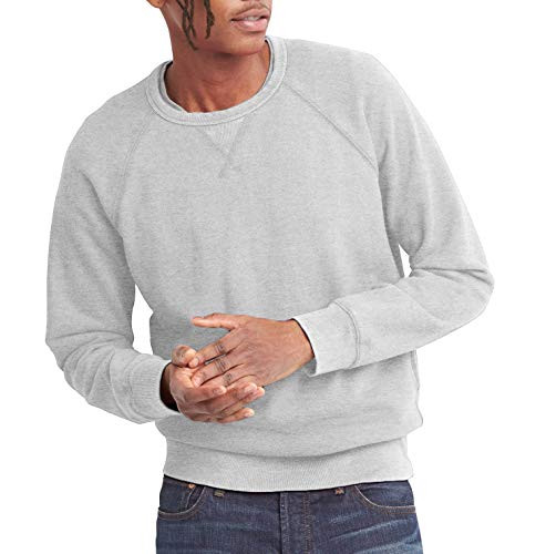 Hat and Beyond Mens French Terry Crewneck Sweatshirt Lightweight Fleece Pullover Sweater(2X-Large,1hc18_Heather Gray)