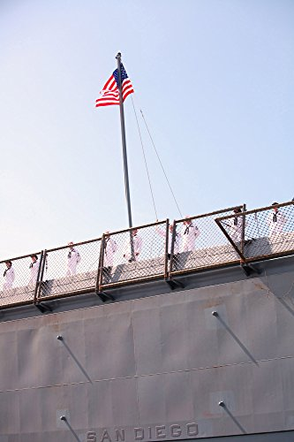 (Home Comforts Framed Art Your Wall Sailors Aboard The USS San Diego Hoist The Flag as The Ship pulls into its homeport at Naval Base Sa 10x13 Frame)