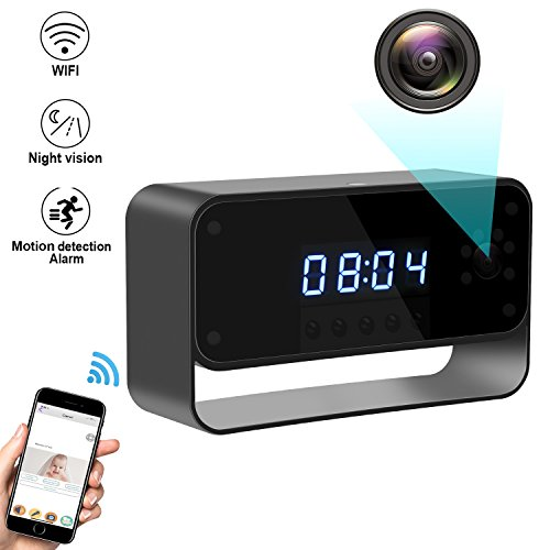 Facamword Hidden Camera WIFI Spy Camera Clock HD 1080P Wireless Security Cam for Home Nanny Cameras Starlight Night Vision Remote View