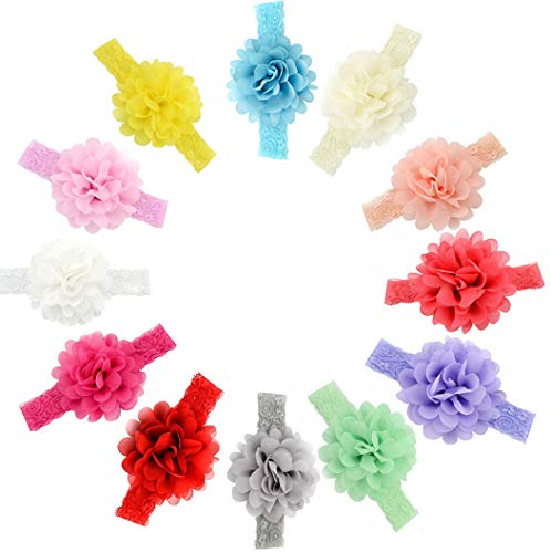 Qandsweet Baby Girl's Elastic Headbands Hair Accessories for Take Photos (10Pcs Lace bands) ()