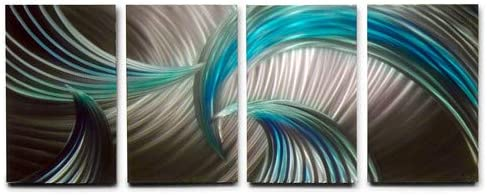 Miles Shay Tempest Blue Green Metal Wall Art