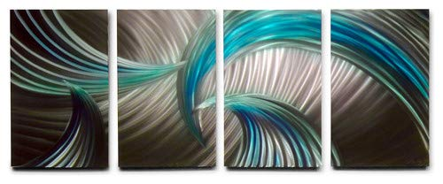 Miles Shay Tempest Blue Green Metal Wall Art, Modern Home Decor, Abstract Wall Sculpture Contemporary