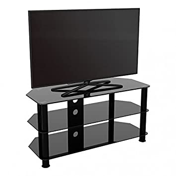 King Universal Black Glass TV Stand 114cm suitable up to 55 inch for HD Plasma LCD LED OLED Curved TVs