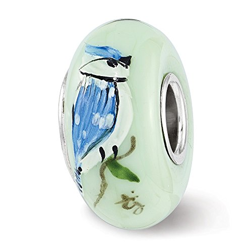 Solid 925 Sterling Silver Reflections Green Blue Jays Rule Fenton Glass Bead (7.8mm x 14.5mm) (Green Sterling Reflections Silver)