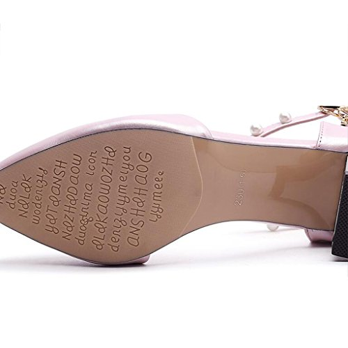 Talons Vamp Pu L'orteil Envelopper Rose Hauts Tête Supérieur Moyen Chaussures Pointue Épais À Printemps Femme Talon Enveloppant H6xE5