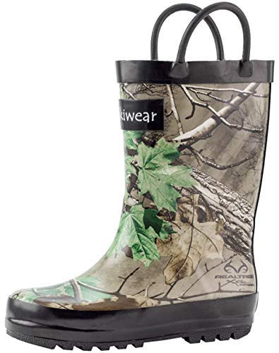 OAKI Kids Rubber Rain Boots with Easy-On Handles, Xtra Green Camo, 6T US ()