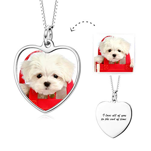 LONAGO Full Color Photo Picture Personalized 925 Sterling Silver Necklace Custom Etched Dog Tag Image Pendant with Message Name (Heart-Shaped-White-Gold-Plated-Copper)