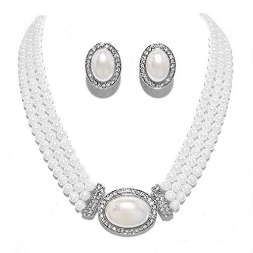 Christina Collection Elegant Layered Strands White Simulated-Pearl Crystal Silver Necklace Clip on Earrings Set Gift Bijoux ()