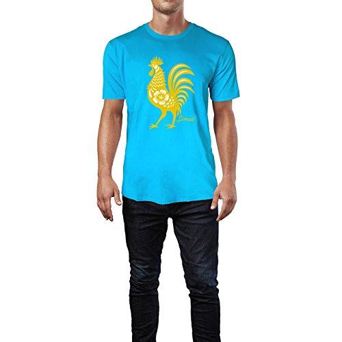 SINUS ART ® Hahn im roten Scherenschnitt Herren T-Shirts in Karibik blau Cooles Fun Shirt mit tollen Aufdruck