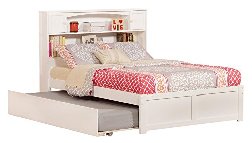 (Atlantic Furniture AR8532012 Newport Platform Bed with Twin Size Urban Trundle, Full, White)