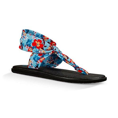 Sanuk Flip Flops/Zehentrenner Yoga Sling Ella Prints Blau (aqua waikiki floral)