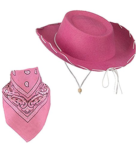 Pink Children Felt Cowboy Hat With White Cord Lacing & Pink Paisley Bandanna (Cow Girl Hat)