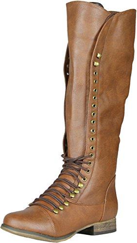 Breckelle's Women's Georgia-35 Knee High Lace-Up Combat Boot,Georgia-35 Tan 6.5