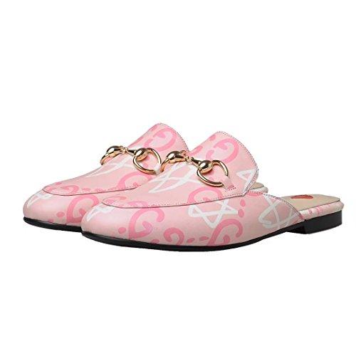 Jyshoes Pantofole Chiuse Ladies Summer Flat Mules Leather Mules Comode Pantofole Rosa + Fiori