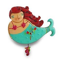 Allen Designs `Ruby` Whimsical Mermaid Pendulum Wall Clock