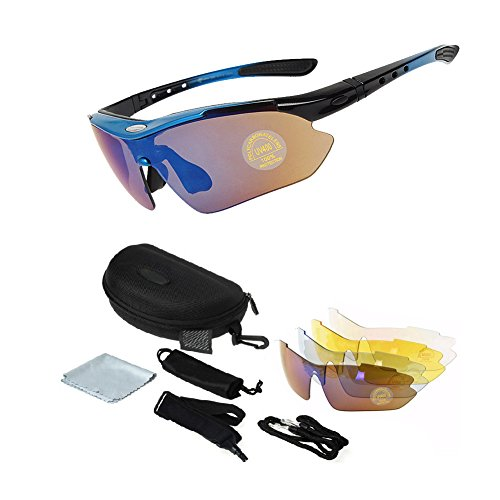 ALLAZA Rockbros Sports Photochromic Polarized Glasses Cycling Eyewear Bicycle Glass MTB Bike Bicycle Riding Finshing Cycling Sunglasses 1000 (Blue)