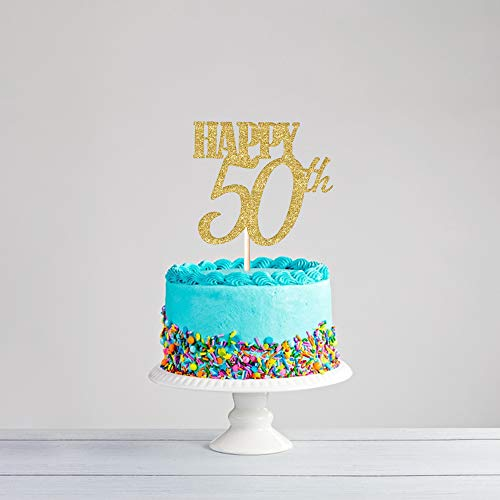 CC HOME 50 Birthday Decorations, Fabulous and 50 Birthday Cake Topper - 50 Cake Toppers Glitter | 50th Party Decorations Gold,Party Favor ,Vintage Funny Anniversary Birthday Gift Ideas for Mom, Dad, Husband, Wife]()