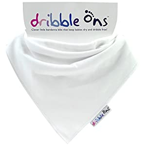 Dribble Ons Baby Bandana Bibs, White