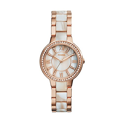 Fossil Women's Virginia Quartz Stainless Steel and Horn Acetate Dress Watch, Color: Rose Gold-Tone (Model: (Rose Gold Steel Watch)