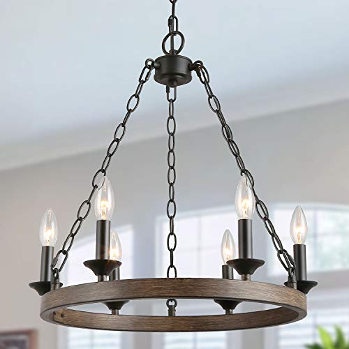 LOG BARN Round Chandelier, Dining Room Lighting Fixtures Hanging in Rustic Faux Wood Metal Finish, Farmhouse Wagon Wheel Pendant Lamps for Kitchen