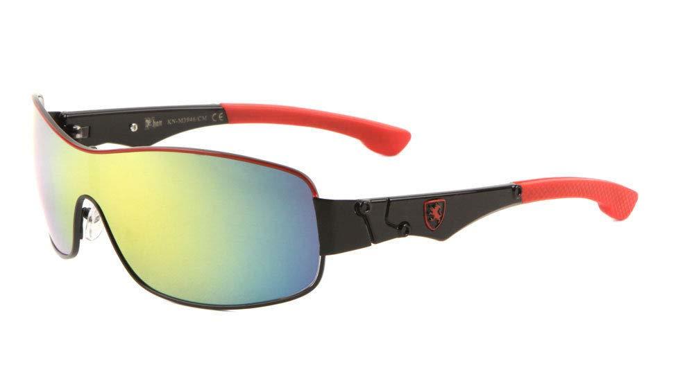 Khan Slim Sport Wrap Around Shield One Piece Lens Sunglasses (Red & Black Frame, Yellow Blue Flash Mirror) by Khan Sunglasses