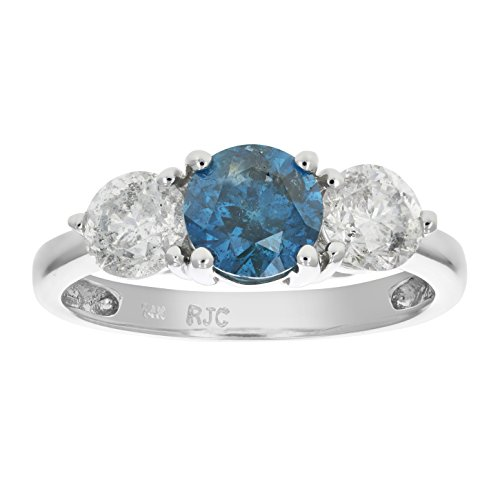 2 CT 3 Stone Blue & White Diamond Ring 14K White Gold In Size 7 (Available In Sizes 5 – 10)