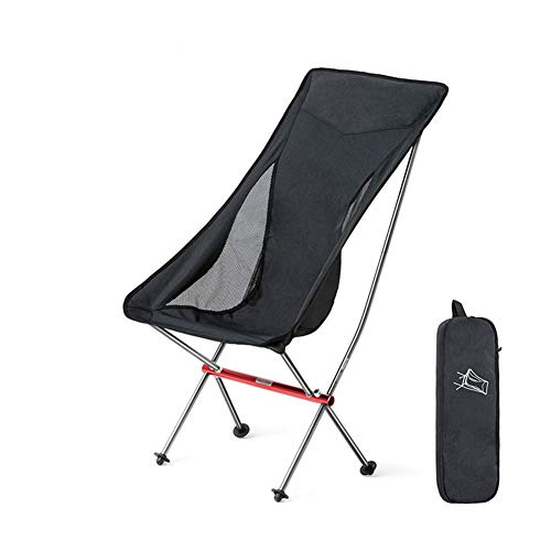 DZQZR Portable High Back Camping Chair Compact Ultralight Folding Chair with Carry Bag for Hiking, Beach,Fishing,Outdoor Easy to Install Heavy Duty 150Kg Capacity