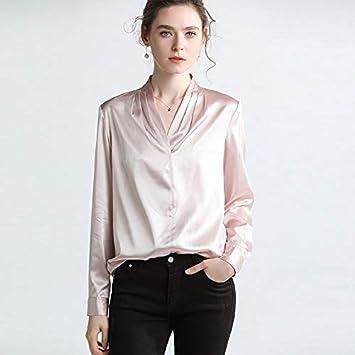 XCXDX Camisa De Seda con Cuello De Pico para Mujer, Blusa Elegante, Top Ligero De Primavera, Camisa Básica De Dama De Oficina: Amazon.es: Deportes y aire libre