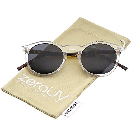 Retro Horn Rimmed Keyhole Nose Bridge P3 Round Sunglasses 49mm (Shiny ()
