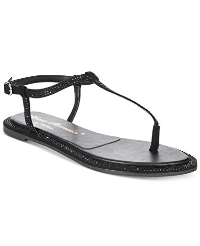 Athena Alexander Womens Indya Open Toe Casual T-Strap Sandals, Black, Size 5.0
