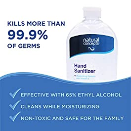 32-oz Bottle, 4-Pack (128oz Bulk Pack), Made in Canada, with Vitamin E, 65% Ethyl Alcohol, Hand Sanitizer Gel by Natural…