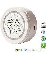 ECOOLBUY WiFi Inteligente Bajo Techo, en Exteriores Temperatura Humedad Sensor Funciona con Alexa Google Home para Home House Greenhouse Basement Garage