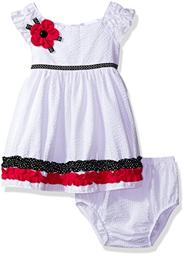 Rare Editions Baby Girls' Seersucker Dress, White, 12M - Rare Editions Baby Dresses