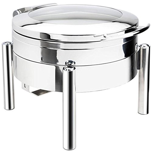 Eastern Tabletop 3978GS Jazz 6 Qt. Stainless Steel Round Induction Chafer with Pillar'd Stand and Hinged Glass Dome Cover