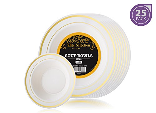 Elite Selection Pack of 25 Soup Bowls Disposable Plastic Party Plates Ivory Cream Color With Gold Swirl 12 Oz.