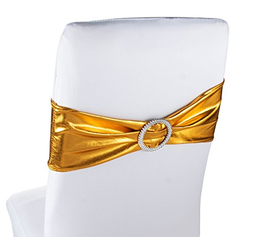 Chair Sashes – 50 Pack Wedding Gold Chair Sashes Bows Buckles, Chair Decoration Banquet Decoration, Anniversary Party Bridal Shower, Gold, 26.4 x 6.2 ()