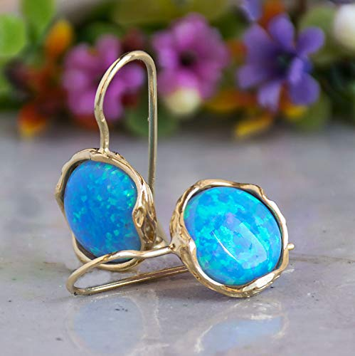 (14K Gold Vintage Blue Opal Earrings - 14K Solid Yellow Gold Dangle Drop Earrings, October Birthstone, Dainty 12mm Turquoise Gemstone, Handmade Ornamented Vintage Style Jewelry Statement Earrings)