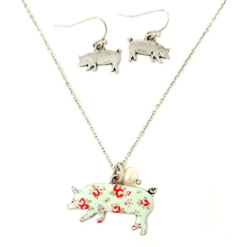 Pig Floral (Floral Pig Pendant Necklace and Earrings with Pearl Charm (Silver Burnish))