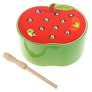 menolana Wooden Magnet Fruit Bug Catching Game Toy Kids Montessori Toy - Apple