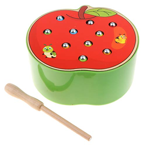 B Baosity 木製 果物形 マグネット バグゲームおもちゃ 子供 モンスリーおもちゃ 2色 - リンゴ