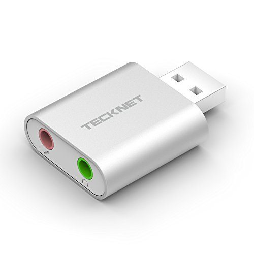 TeckNet® Aluminum Externe USB Soundkarte mit Virtual Surround Sound, Plug & Play