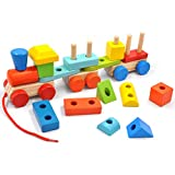 GYBBER&MUMU Wooden Block Train Toys Pull Train Toy Building Blocks Stacking Games Color/ Shape/ Fruits Recognition Learning Education for Kids (19pcs-14.2in)