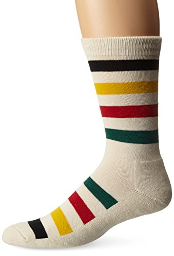 Pendleton National Park Cotton Crew Socks, Glacier Stripe - White, Large (Fits Men's Shoe Size 9-12/ Women's Shoe Size 10-13)