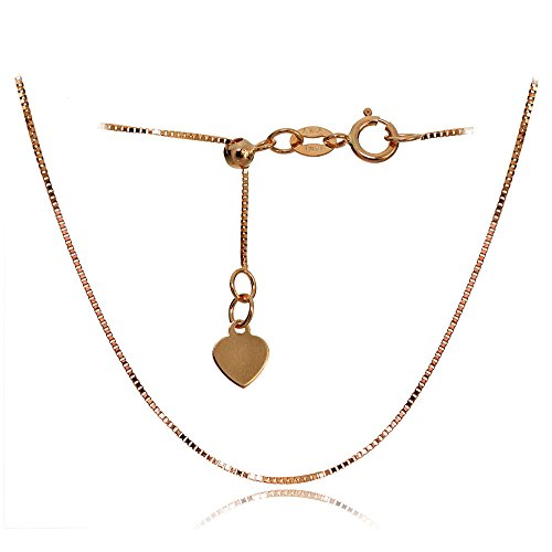 Bria Lou 14k Rose Gold .6mm Italian Box Adjustable Chain Anklet, 9-11 Inches by Bria Lou