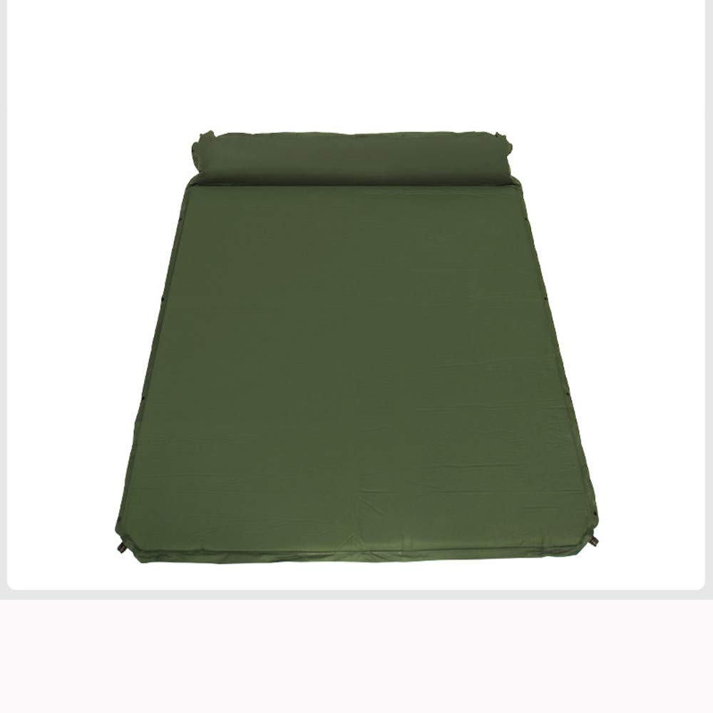 SYT Blankets Automatische aufblasbare Kissen Forscher Wilde Mahlzeit Camping Outdoor-Zelt Single Double Air Bett, 191x158cm, Armee grün